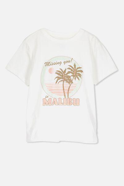Girls Classic T-Shirt, SNOW WHITE/MALIBU