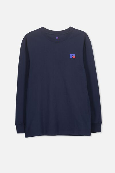 Russell Long Sleeve Tee, LCN RUS/NAVY