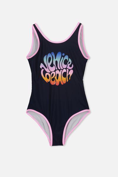 Sally Low Cross Back One Piece, OBRIEN BLUE/VENICE BEACH