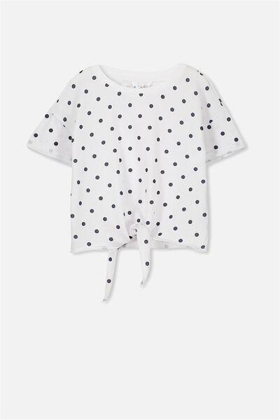 Candy Short Sleeve Fleece Top, WHITE/OBRIEN SPOT