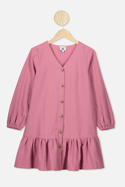 Leila Long Sleeve Dress, VERY BERRY