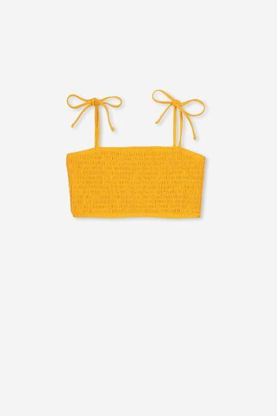 Shirred Bikini Top, SWIM YELLOW