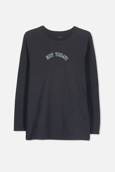 Boys Lounge Ls Tee, SHADOW/NOT TODAY