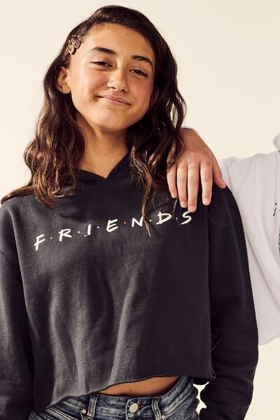 Girls License Crop Hoodie, LCN WB/SHADOW/FRIENDS