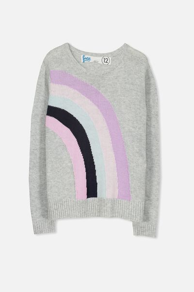 Milly Knit, SOFT GREY MARLE/RAINBOW