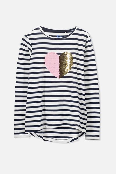 Charlie Long Sleeve Tee, OBRIEN STRIPE/REVERSIBLE HEART