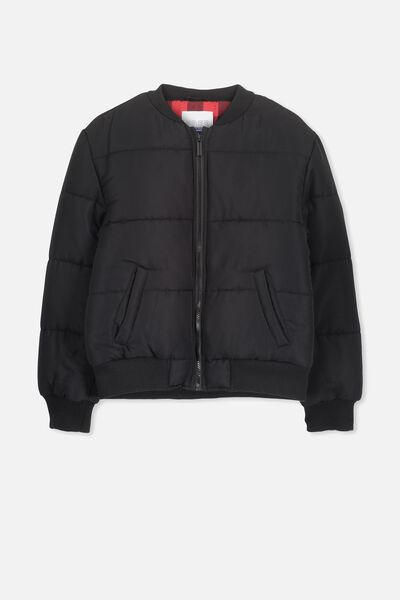 Hybrid Bomber Jacket, BLACK/CHECK