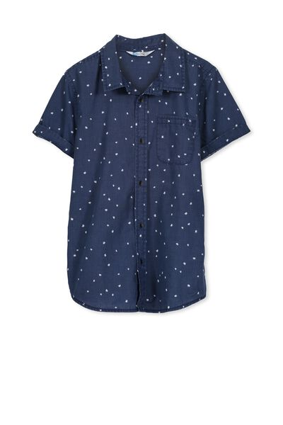 Joshua S/S Shirt, INDIGO/TROPICAL MINI LEAF