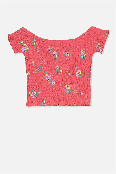 Shirred Tee, RED FLORAL PRINT
