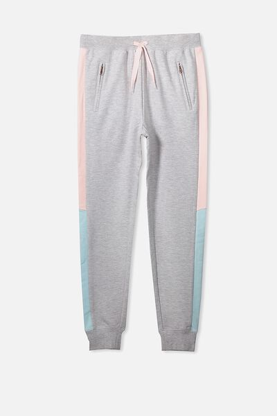 Tori Tape Trackpant, SOFT GREY MARLE/PANELS