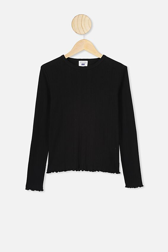 Jayda Rib Ls Top, BLACK