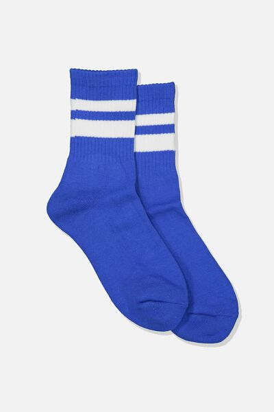 Ribbed Crew Socks, S BANDS ULTRA BLUE