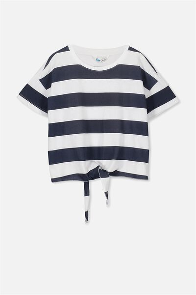 Candy Short Sleeve Fleece Top, OBRIEN BLUE/WHITE STRIPE