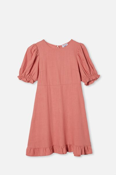 Paris Short Sleeve Dress, EARTH CLAY