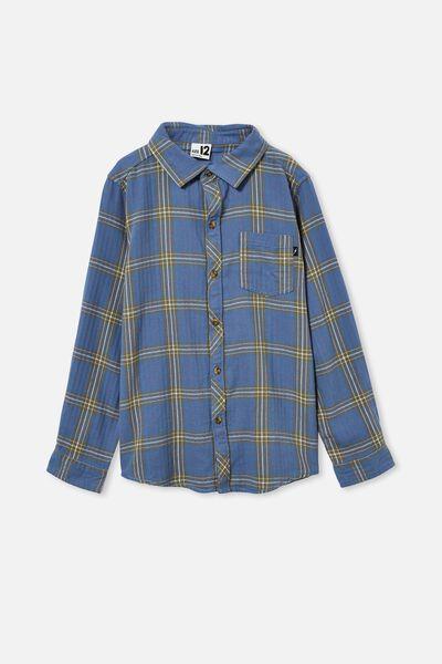 Rocky Long Sleeve Shirt, BLUE PLAID CHECK