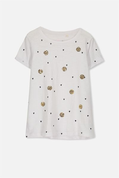 Gracie Ss Tee, WHITE/HEARTS AND CIRCLES
