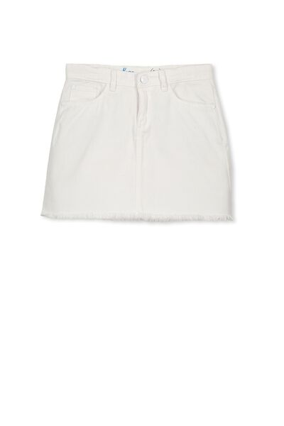 Avril Frayed Hem Skirt, WHITE (2)