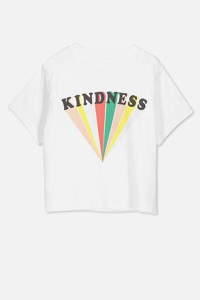 Boxy T-Shirt, WHITE/KINDNESS