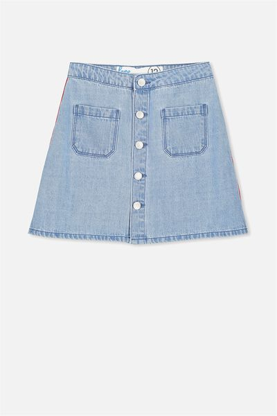 Button Denim Skirt, FRESH INDIGO TAPE