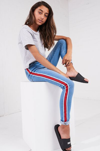 High Rise Tape Jean, MID BLUE/RED TAPE