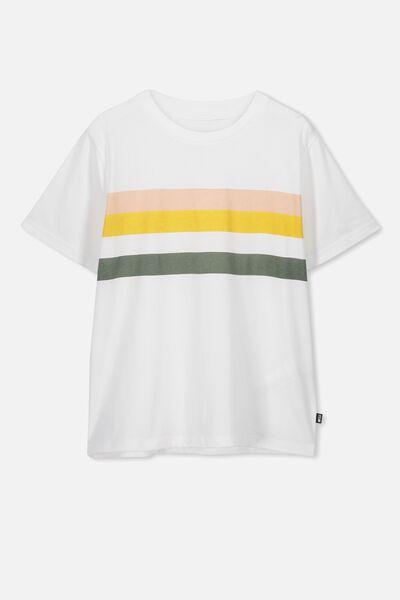 Girls Graphic T-Shirt, WHITE/MULTI STRIPE