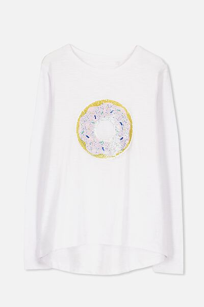 Charlie Long Sleeve Tee, WHITE/SEQUIN DONUT
