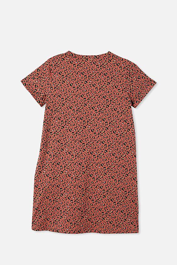 Toni Tshirt Sleeve Dress, CHUTNEY/GOLD SNOW LEOPARD