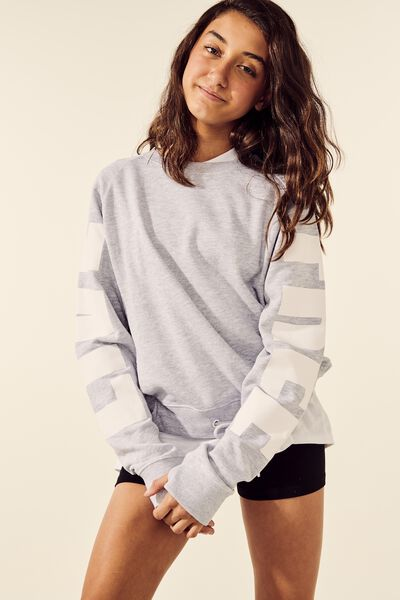 Boxy Crew Neck Jumper, SOFT GREY MARLE/WHITE
