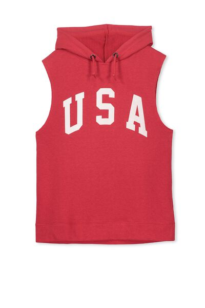James Hooded Sleeveless Fleece, RICH RED/USA