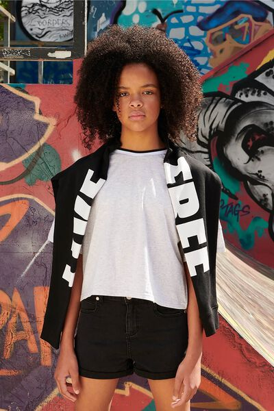 Boxy Crew Neck Jumper, BLACK/WHITE FREE