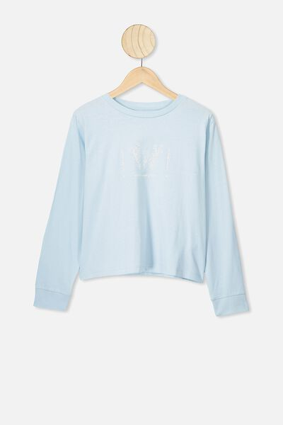 Girls Long Sleeve Tee, LT SURF BLUE/WILD AND FREE