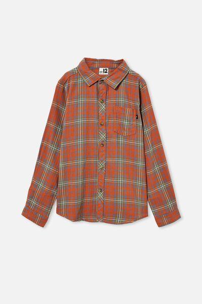 Rocky Long Sleeve Shirt, AMBER BROWN PLAID CHECK