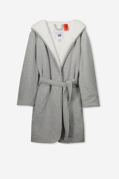 Teddy Fleece Lined Gown, GREY MARLE/CREAM