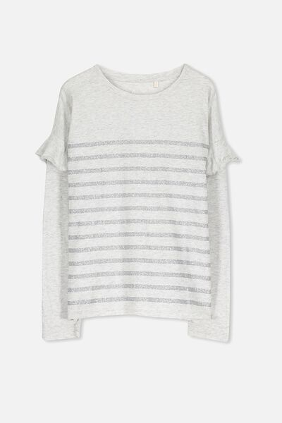 Suzie Long Sleeve Top, SOFT GREY MARLE/SILVER