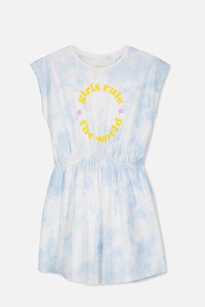 Darci Dress, BLUE TIE DYE/GIRLS RULE