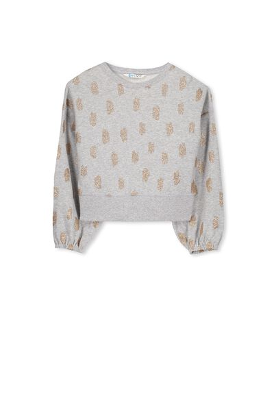 Daisy Drop Shoulder Fleece Top, LIGHT GREY MARLE/GLITTER SCRIBBLES