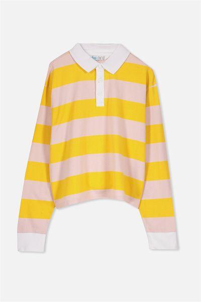 Rugby Stripe Long Sleeve Top, YOKE YELLOW/SEA PINK STRIPE