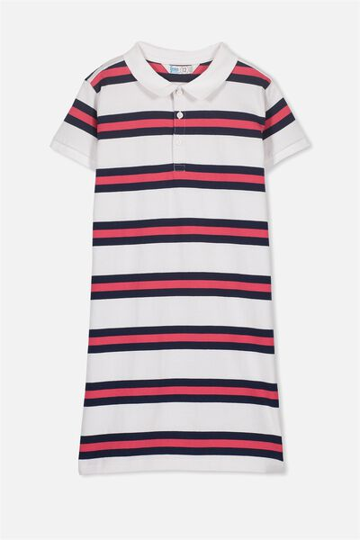 Tess Polo Dress, WHITE/POLO STRIPE