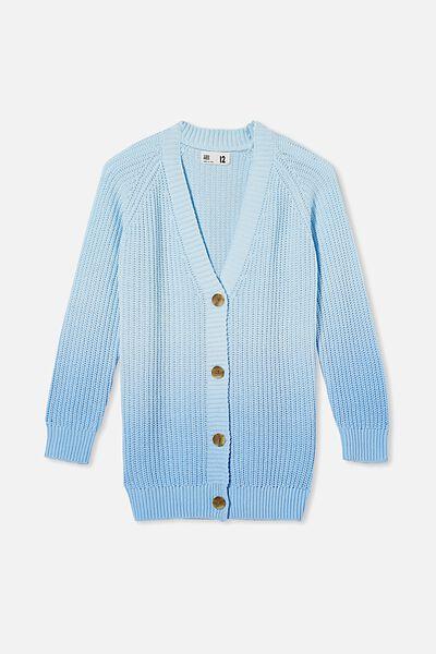 Billie Knit Cardigan, BUDGIE BLUE DIP DYE