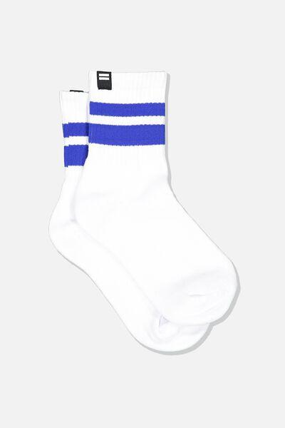 Ribbed Crew Socks, WHITE/ADMIRAL BLUE