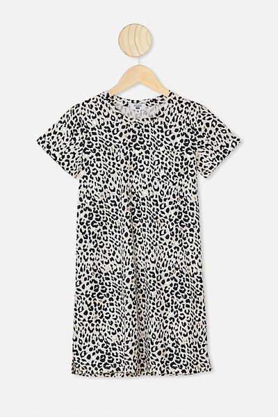Toni Tshirt Dress, DARK VANILLA/LEOPARD