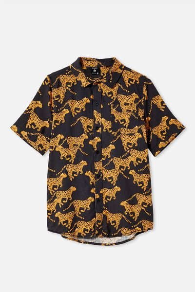 Kip & Co Boys Resort Short Sleeve Shirt, LCN KIP CHEETAH