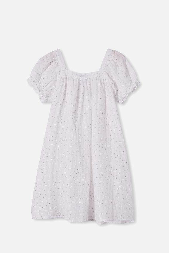 Gracie Short Sleeve Dress, WHITE PUFF FLORAL