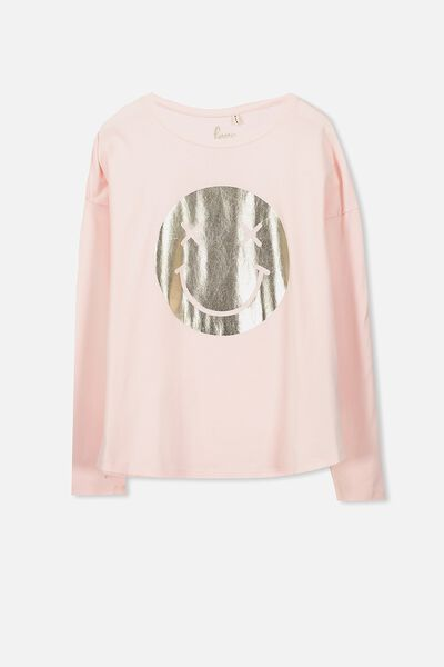 Ebony Long Sleeve Tee, SEA PINK/CROSS EYES