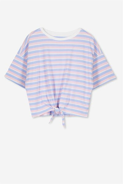 Ellie Tee Tie Front, BUTTERFLY BLUE/PINK LADY STRIPE
