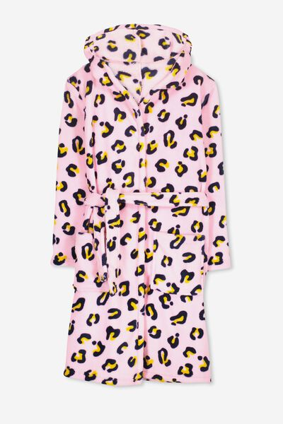 Free Girls Hooded Gown, PERRY PINK/LEOPARD
