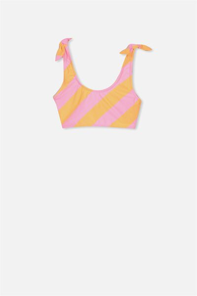 Tie Shoulder Bikini Top, PERRY ORANGE STRIPE
