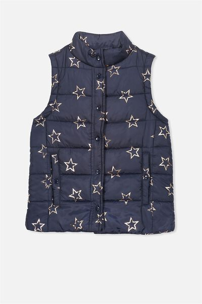Free Active Puffa Vest, OBRIEN BLUE/GOLD STARS