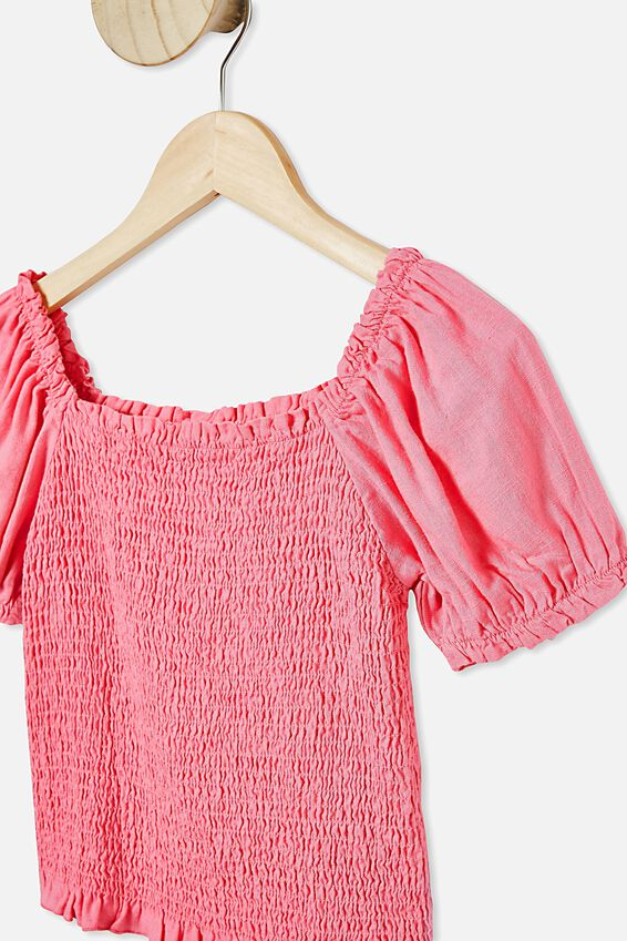 Kate Puff Sleeve Top, PINK PUNCH