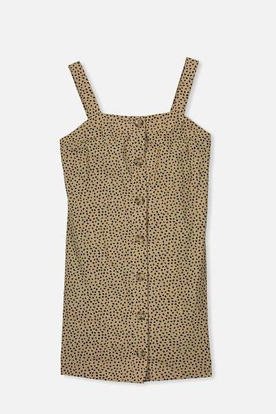 Button Front Dress, WASHED STONE/ANIMAL